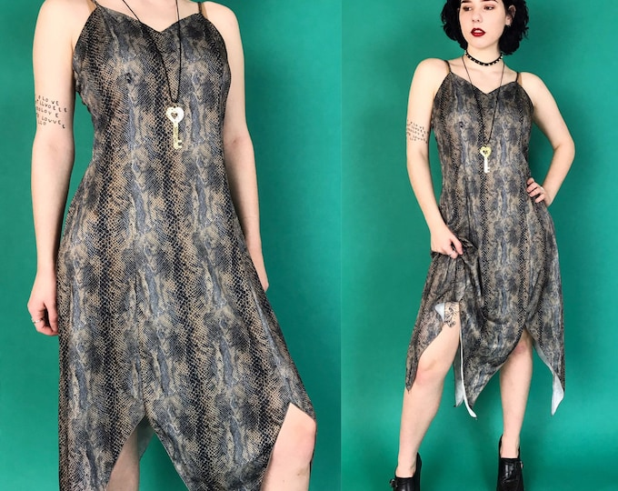 90's Snakeskin Midi Dress Small S/M - Brown Black Snake Print Spaghetti Strap Long Witchy Mid Dress - Stretchy Halloween Vintage Reptile