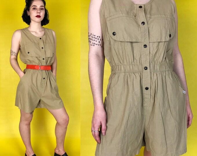 80's Vintage Tan Romper 5/6 - Shorts Safari Style Minimal Cargo Onesie Sleeveless Jumpsuit - Beige Tan Neutral Basic Classic Women's Jumper