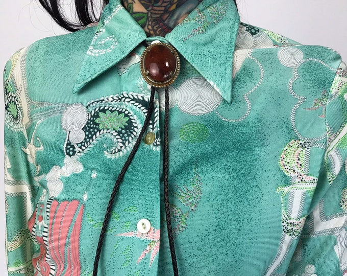 Vintage Jasper Stone Bolo Tie Western Necklace - Bolo Tie With Silver Conch Country Western Rodeo Neck Tie Teal Blue - Southwestern Bolo