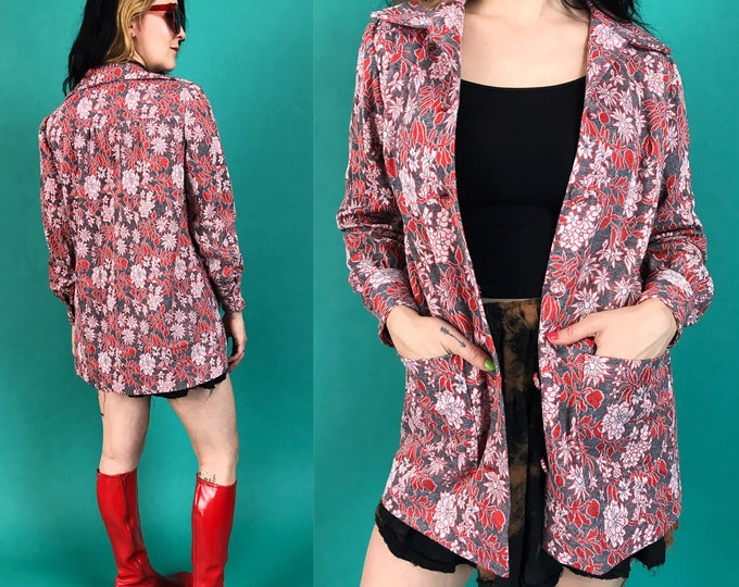 70's Handmade Red Floral Jacket Vintage Medium - Unique Rare True Vintage Retro Button Front Blazer Blouse - Vintage Fall Collared Jacket