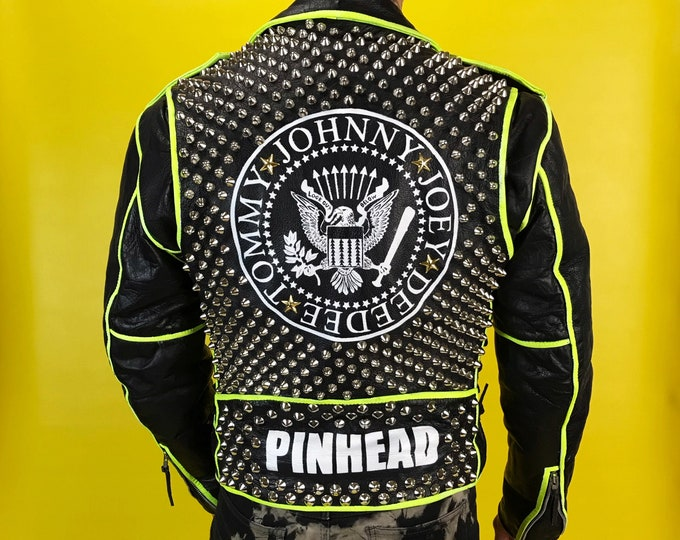 Vintage Studded Hand Painted Ramones Punk Jacket Mens 38 - Black Green Neon UV Trim Custom Painted Leather Punk Rocker Pinhead Biker Jacket