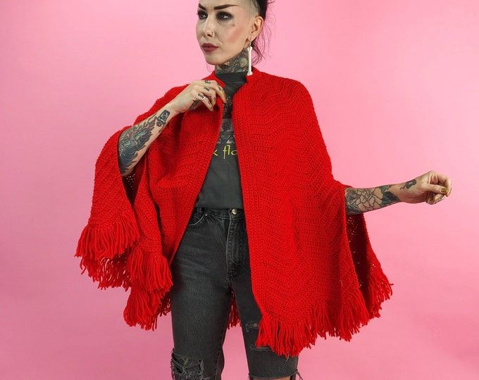 Vintage Hand Knit Cherry Red Cape Womens Outerwear - Acrylic Open Front Cape w/ Arm Slits - One Size Fringe Poncho Cape Red Riding Hood