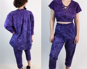 80s Three Piece Matching Outfit Medium - Purple Pants Crop Top & Jacket Tie Dye Statement Streetwear Bedazzled Coordinates Set Unique Remade