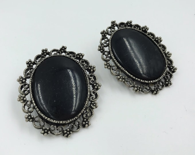 Vintage Black Goth Clip On Statement Earrings - Framed Oval Cameo Style Black Victorian Vintage Earrings - Big Gothic VTG Rare Clip Earrings