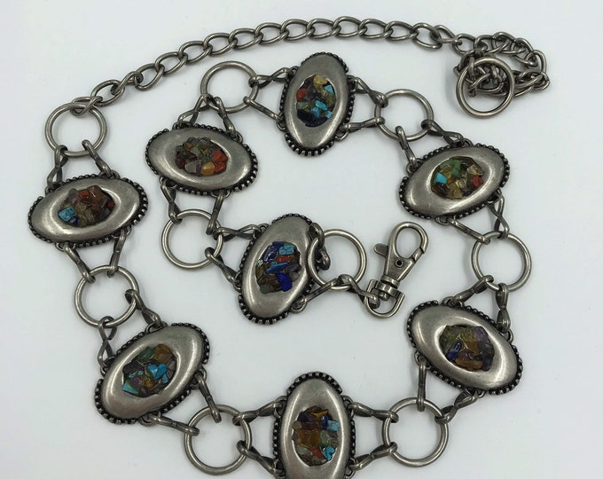 Womens Silver Chain Southwestern Belt - 90s Vintage Stone Pebbles VTG Chain Link Belt - Metal Adjustable Belt Small Medium Statement Belt