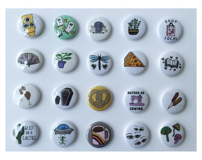 """PICK 5 Button Pack 1"""" Hand Drawn Kitschy Junk Food Coffee Cactus Plant Alien Mushrooms Books - Cute Gift Pack Pinback Buttons Tumblr Trendy"""