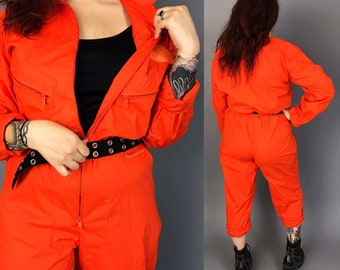 90's Orange One Piece Coveralls Flightsuit Pants Jumpsuit Medium - Unisex Vintage One Piece Pants Coveralls Utility Jumper Baggy Zip Up Suit