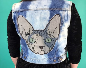 90's Vintage Upcycled Tie Dye Denim Vest Womens Medium - Sphinx Cat Back Patch Vest - Remade Bleached Punk Grunge Rare Cropped Cat Jacket