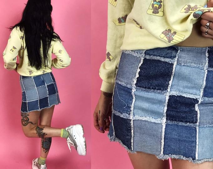 Rare 90s Patchwork Denim Mini Skirt 3/4- Mid Rise Multi Color Blue Jean Skirt Small - Patch Denim Stretchy Junior Iconic Funky Y2K Denim