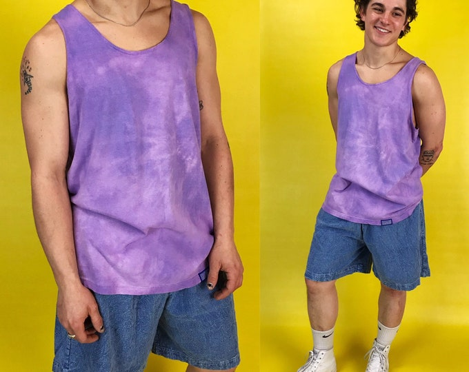 90s Tie Dye Tank Top Pastel Purple Mens Sleeveless Tank Medium - Vintage Hand Dyed Grunge Tie Dye Cotton Unique Summer Tank Sleeveless Tank