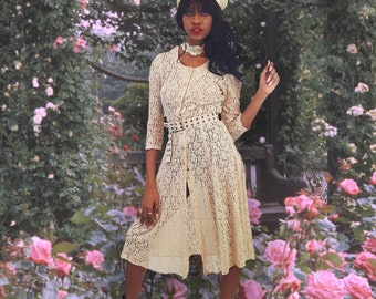 90's Vintage Cream Lace Midi Dress - 1990s Creme Off White Below Knee Dress - Sheer Floral Mesh Sheer Boho Romantic Wedding Choker Dress