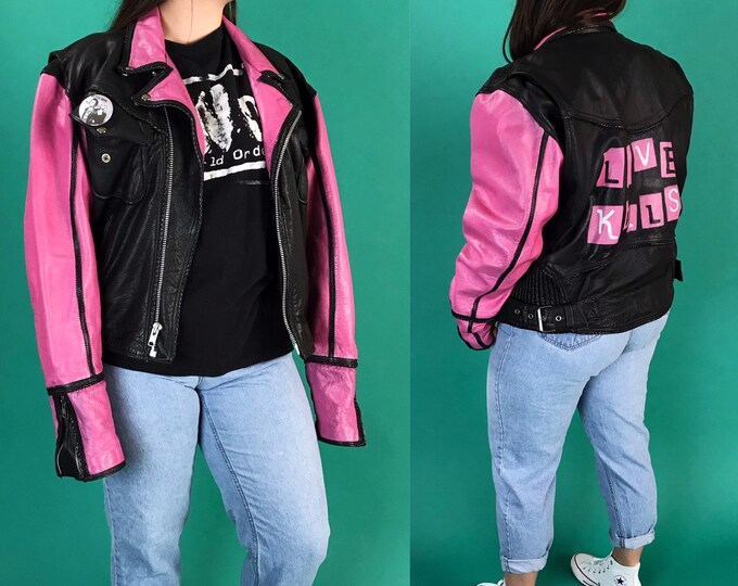 1980's LOVE KILLS Black & Pink Vintage Leather Biker Jacket Womens XL - Hand Painted Boxy Goth Grunge Thick Leather Winter Statement Coat