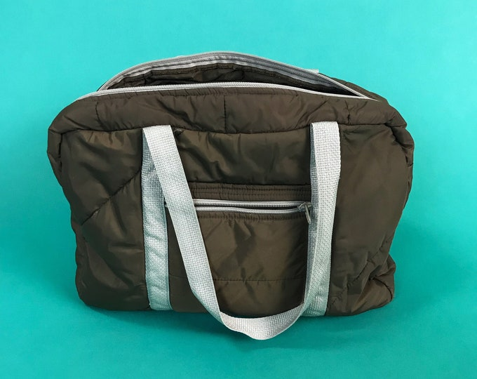 80 s Brown Basic Quilted Gym Bag Mini Tote Duffel Bag - Soft Double Strap  Overnight Travel 7ba84666871e9