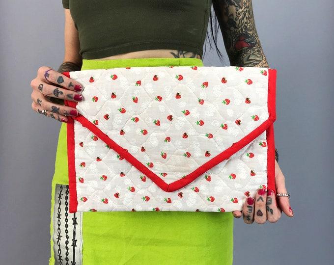 Vintage Handmade Summer Strawberry Clutch Handbag - Quilted Fabric Clutch Envelope Shape Unique Kitschy Purse - Cute Fruit Print VTG Handbag