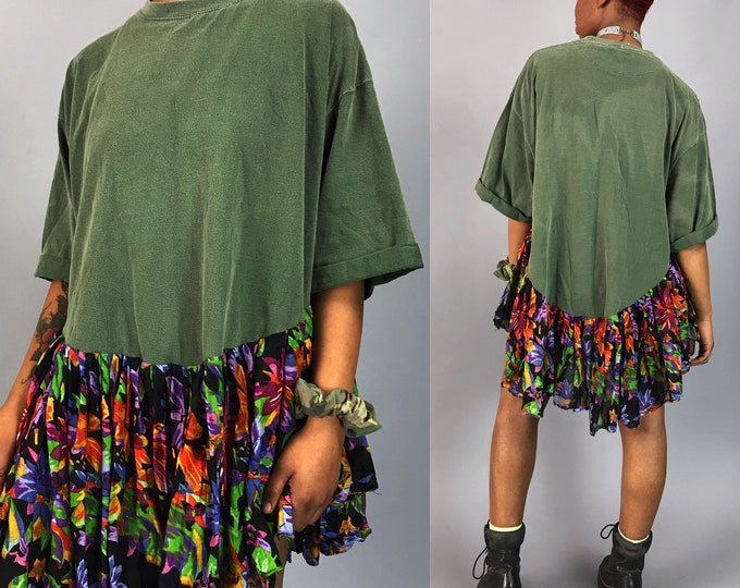 Upcycled Tee Shirt Tunic Dress - Unique Recycled Drop Waist Lunar Eclipse Dress w/ Floral Ruffle - Remade Loose Baggy One Off Shirt Dress