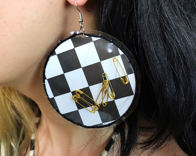 Handmade Clear Vinyl Hand Stitched Safety Pin Statement Earrings - Big Weird Mixed Media Oversized Dangly Checker Punk Grunge Party Jewelry