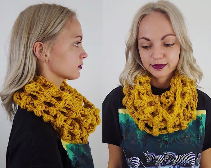 Handknit Handmade Mustard Yellow Circle Scarf - Boho Hipster Art Fashion Womens Accessory - Soft Warm Fall Upcycled Yarn Womens Cowl Scarf