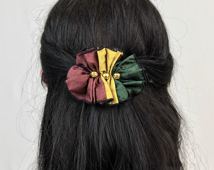 90's Bell Hair Clip French Clip - Jester Clown Accessory French Clip Hair Barrette - Handmade Green Yellow Red Hipster Earthy Fall Hair Clip