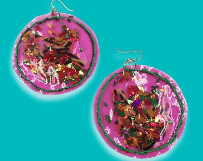 Handmade Clear Pink Vinyl Statement Earrings - Hand Stitched Confetti Earrings - Fun Glittery Oversized Party Jewelry Dangly Round Handmade