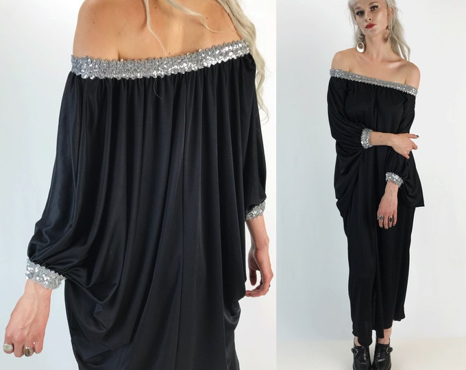 Rare 80's Black Formal Off The Shoulder Slinky Maxi Party Dress One Size - Silver Sequin Detail Long Bat Wing Sleeve Black Statement Dress