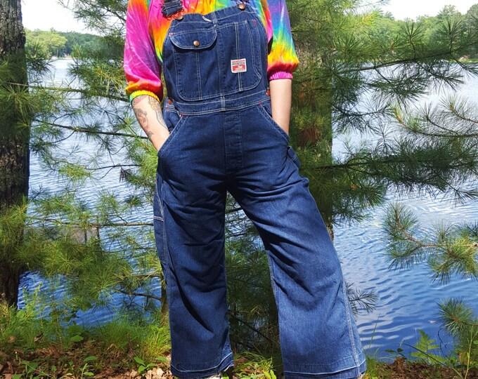 70's Cropped Denim Overalls Womens Extra Small - Overall Pants Jumper Frayed Hem Basic Denim Jumpsuit - Rare VTG Pioneer Dark Denim