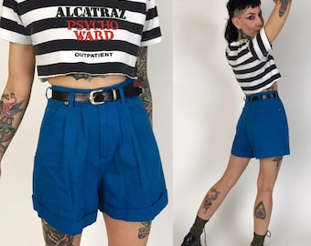 90's Cobalt Blue Pleated Front High Waist Shorts w/ Belt XS-2 - VTG Cuffed Casual Preppy Shorts w/ Pockets - Blue Shorts w/ Black Belt