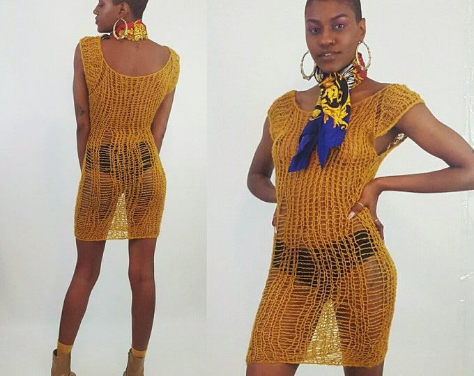 HANDMADE Sheer Knit Tank Dress- Womens Small Mustard Yellow Grunge Mini - Open See Through Eco Friendly Distressed Sleeveless Dress