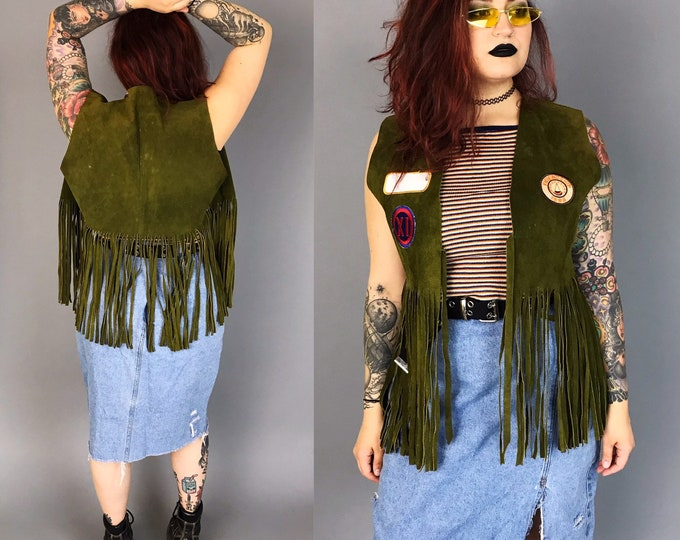 Vintage Suede Fringe Leather Vest Womens Large - Upcycled Fringe BOHO Hippie Leather Vest W/ Retro Patches Added - One Of A Kind Rare VTG