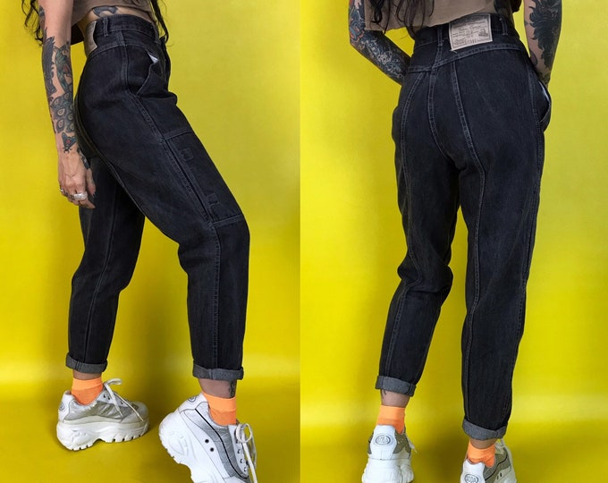 90's Denim Cargo Pants Size GITANO 4 High Waist Gray Wash Charcoal Stonewash 90's Jeans - Small Dark Baggy Denim - RARE Highwaisted Jean