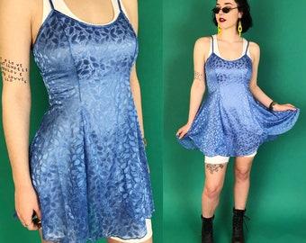 90's Baby Blue Slip Dress Allover Print Semi Sheer Tank Dress S 4-6 - Sexy Feminine Burnout Mini Lingerie - See Through Lightweight Angelic