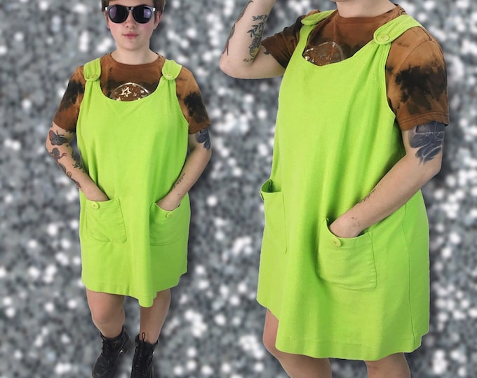 NEON 90's Cotton Jumper Dress Large - Bright Green Sleeveless Soft Pinafore Minidress with Front Pockets - VTG Summer Overalls Mini Dress
