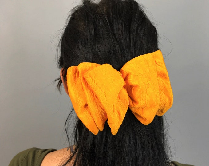 90's Golden Yellow Hair Bow French Clip - Vintage BIG Statement Bow Clip Orange/Yellow Bow Clip - Hipster Preppy Accessory Girly Barrette