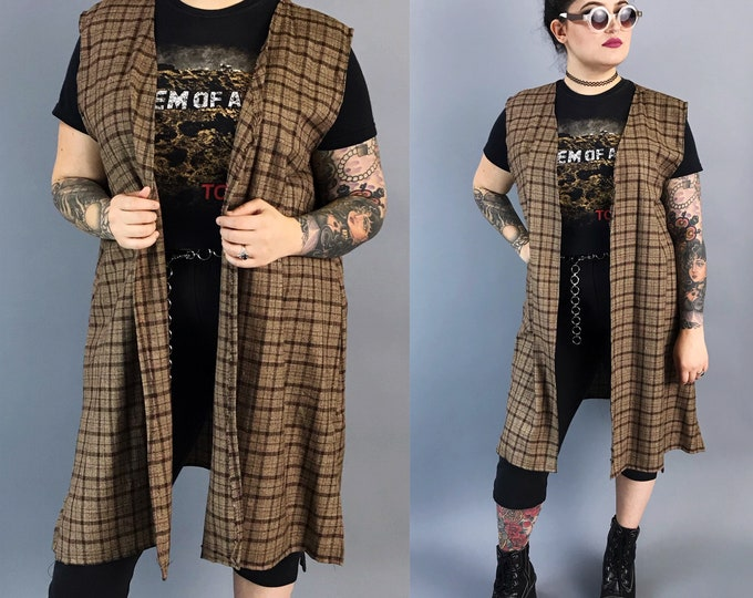 Handmade Plaid Vest Layer Womens Large - Open Front Brown Black Printed Layering Top - One Of A Kind Fall Boho Everyday Long Sleeveless Top