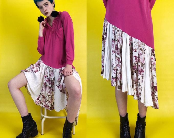 Upcycled Drop Waist Tee Shirt Dress Medium - Asymmetrical Shift Dress Funky Weird Ruffle Hem Long VINTAGE Statement Piece - Floral Pink Midi