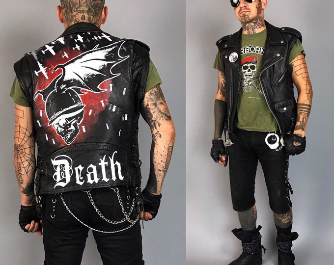 Mens Black Leather Biker Vest Size 38 Medium - Vintage FMC Goth Death Militant Hand Painted Leather Punk Moto Battle Vest - Metal War Zone