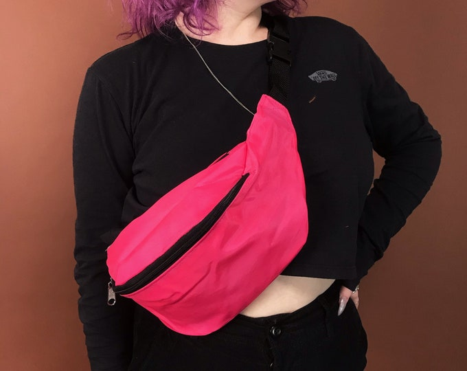 90's Deadstock Vintage Neon Fanny Pack - Solid Pink OR Purple Summer Belt Bag - Oversized Bum Bag Unisex Hip Purse Vacation Bag Never Worn