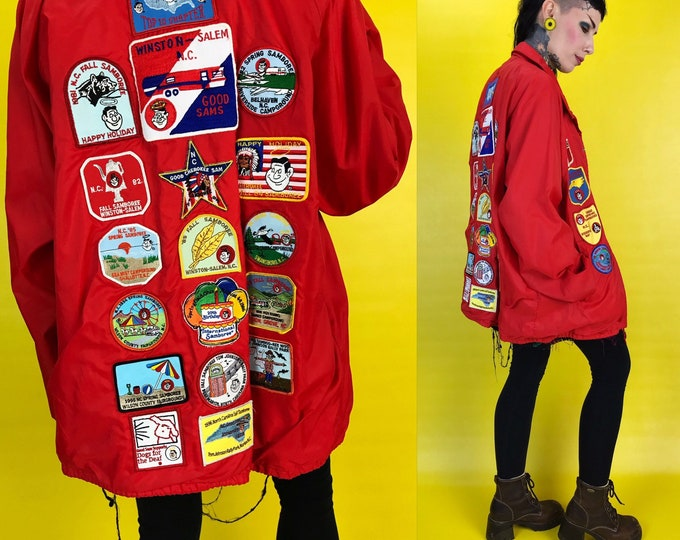 70's Red Patched Jacket Traveler Patch Collector Windbreaker Jacket - Retro Vintage Jacket NC Outdoor Hiking Patches Retro Upcycled Jacket