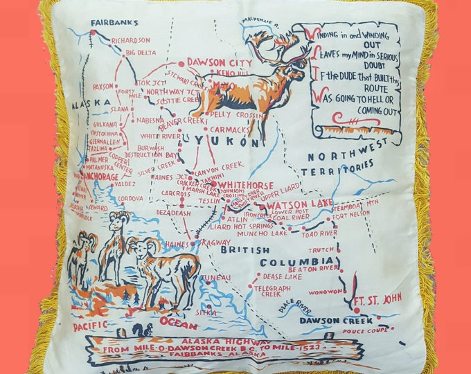60s Alaska Map Souvenir Pillow Cover - Satin Fringed 1960s White Vintage Alaskan Highway Tourist Map Mid Century Home Decor Pillowcase