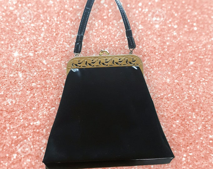 60s Vintage Black Faux Leather Purse - Dressy Black & Gold Filigree Vtg Handbag - Top Handle Gold Detail Special Occasion Purse Hand Bag
