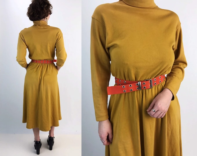 80's Long Sleeve Turtleneck A-line Cotton Midi Dress w/ Pockets S/M - VTG Mustard Yellow Rust Brown Modest Everyday Casual Fall Dress
