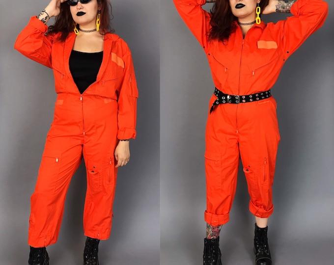 Orange One Piece Coveralls Flightsuit Pants Jumpsuit Medium - Unisex Vintage One Piece Pants Coveralls Utility Jumper Baggy Zip Up Suit