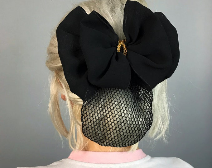 90's Black Net SNOOD Hair Bow Basic French Clip - Large VTG Bow Clip Goth Mesh Hair Net Bun Holder BIG Statement Barrette - Rare Puffy Bow
