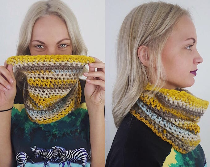 Handknit Handmade Yellow Cream Blue Gray Circle Scarf - Boho Hipster Art Fashion Womens Accessory - Soft Warm Fall Upcycled Yarn Cowl Scarf