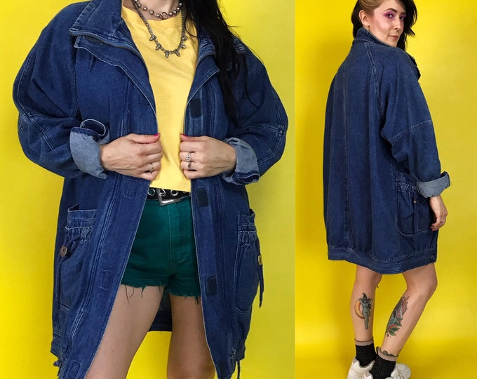 80's Baggy Denim Coat With High Neck Womens Medium - Long Everyday Winter Denim Street Wear Slouchy Denim Coat - VTG Navy Blue Outerwear