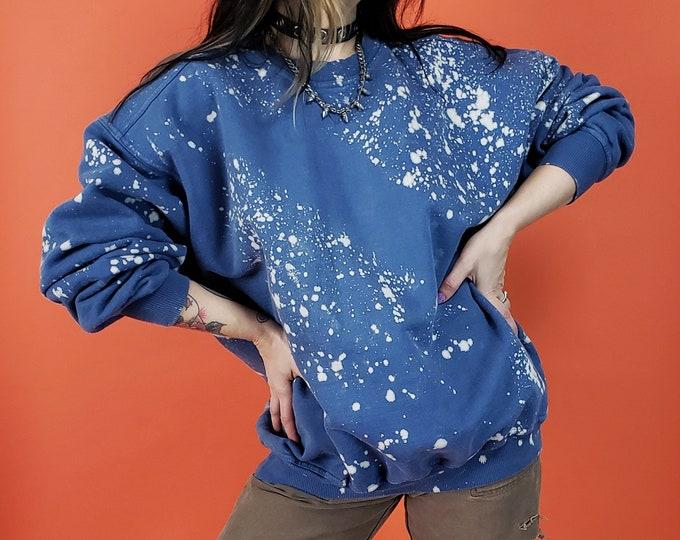 Tie Dye Pullover Sweatshirt Adult 2XL Plus Size - Blue Bleached Cotton Pullover - Baggy Slouchy Grunge Long Sleeve Splatter Sweatshirt XXL