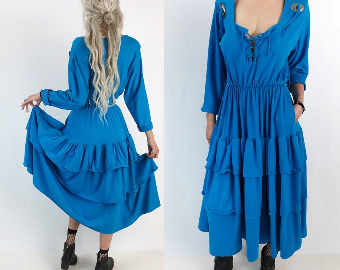80's Western Style Sky Blue Ruffle Midi Dress w/ Concho Tassels Medium - RARE Vintage Folk Southwestern Statement Twirling Dancing Dress