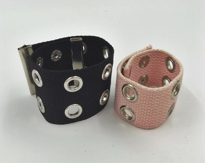 2 Pack Grommet Grunge Bracelets - Pink & Black Thick Belt Style Statement Skater Arm Accessory One of a Kind y2K Trendy Unisex Jewelry