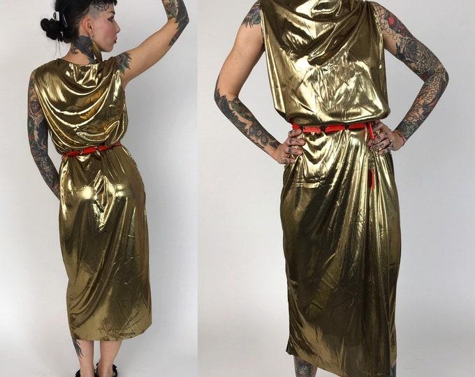 80's Handmade Metallic Gold Disco Dress Small - Handmade Unique Longline Slinky Sleeveless Midi Length Lightweight Statement Party Dress