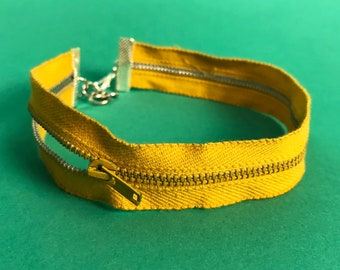 Zipper Choker Mustard Yellow Remade Upcycled Unique Necklace - Recycled Grunge Choker Accessory One of a Kind - Double Strand Vintage Choker