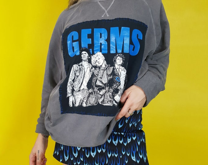 Upcycled Vintage GERMS Pullover Sweatshirt - XL Punk Band Patched Grey Sweatshirt - One of a Kind Remade Stitched Long Sleeve Sweat Shirt
